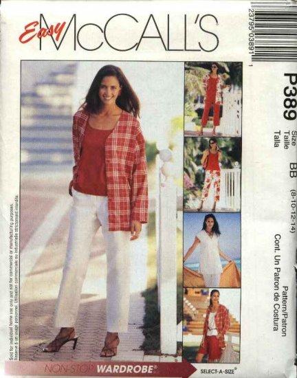McCall's Sewing Pattern 389 Misses Size 8-14 Easy Wardrobe Jacket Vest Knit Top Capri  Pants Shorts