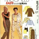 McCall's Sewing Pattern P474 301 3856 Misses Size 4-14 Easy Pajamas Top Camisole Shorts Pants