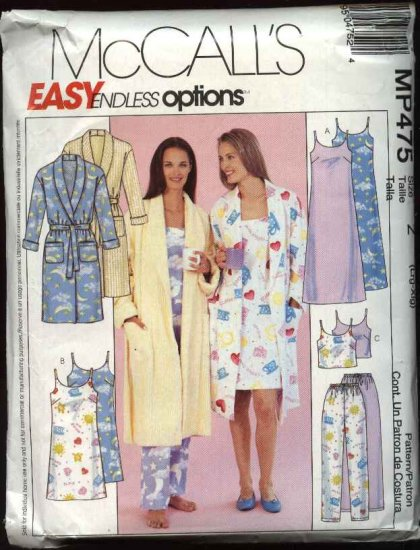 McCall's Sewing Pattern P475 Misses Size 16-22 Easy Nightgown Bath Robe Pajamas Pants Camisole