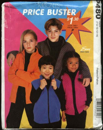 McCall's Sewing Pattern 480 Boys Girls Childrens Size 7-14 Easy Zipper Front Fleece Jacket Vest