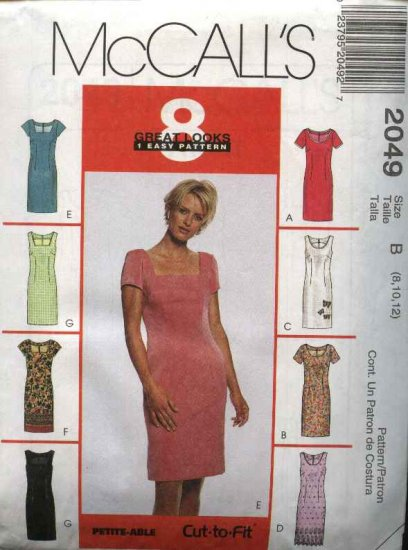 McCall's Sewing Pattern 2049 Misses Size 4-6-8 Easy Straight Sheath Sleeveless Short Sleeve Dress