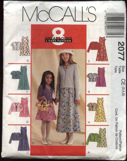 McCall's Sewing Pattern 2077 Girls Size 3-5 Easy Sleeveless Dress Short Long Sleeve Jacket