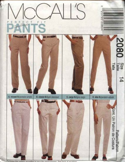 McCall's Sewing Pattern 2080 Misses Size 16 Relaxed Classic Cargo Slim Fit Pants Slacks Trousers