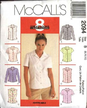 McCall&#039;s Sewing Pattern 2094 Misses Size 10-14 Easy Classic Shirts Tops Blouses Sleeveless Sleeves