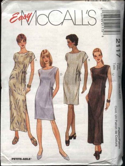 McCall's Sewing Pattern 2117 Misses Size 10-12-14 Easy Summer Long Short Straight Dress