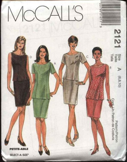 McCall's Sewing Pattern 2121 Misses Size 10-14 Fitted Straight Skirt Fitted Top Tunic 2-Piece Dress