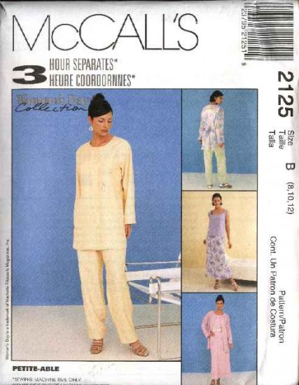 McCall's Sewing Pattern 2125 Misses Size 8-12 Wardrobe Top Shell Bias Skirt Long Pants Jacket