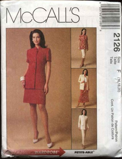 McCall's Sewing Pattern 2126 Misses Size 16-20 Wardrobe Jacket Long Cropped Pants A-Line Skirt