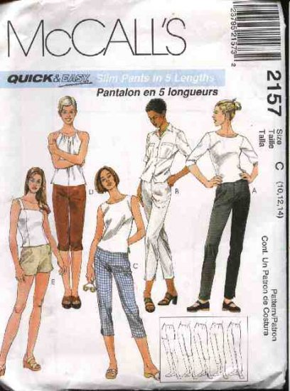 McCall's Sewing Pattern 2157 Misses Size 10-12-14 Easy Fitted Slim Long Pants Shorts Pedal Pushers