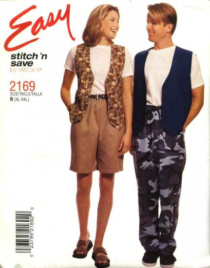 McCall's Sewing Pattern 2169 Misses Mens Unisex Chest Size 42-48 Easy  Vest Pull On Pants Shorts