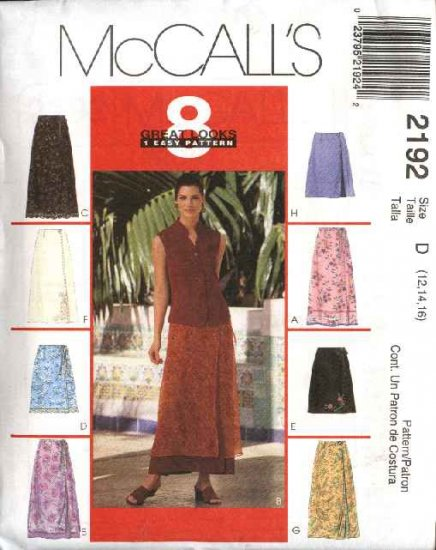 McCall's Sewing Pattern 2192 Misses Size 12-14-16 Easy Wrap Front Fitted Short Long A-Line Skirts