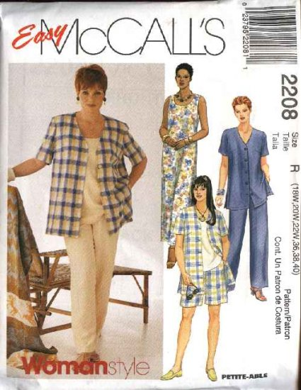 McCall's Sewing Pattern 2208 Womans Plus Size 18W-22W Easy Wardrobe Dress Top Jacket Pants