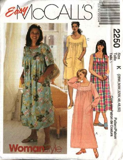 McCall's Sewing Pattern 2250 Womans Plus Size 28W-32W Easy Loose Short Long Dresses
