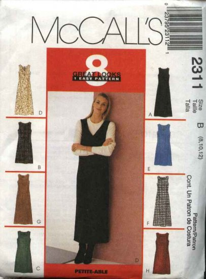 McCall's Sewing Pattern 2311 Misses Size 8-12 Easy Short Long A-Line Dress Jumper