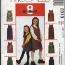 McCall's Sewing Pattern 2313 M2313 Girls Size 4-6 Easy Short Long Straight Jumper School Uniform