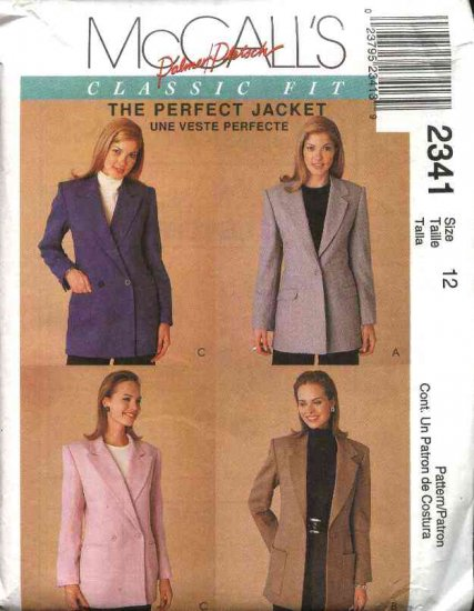 McCall's Sewing Pattern 2341 Misses Size 12 Classic Single Double Breasted Jacket Blazer