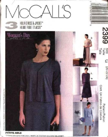 McCall's Sewing Pattern 2399 Misses Size 20-22-24 Short Sleeve A-Line Dress Long Sleeve Jacket