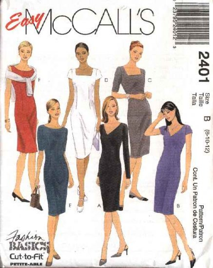 McCall's Sewing Pattern 2401 M2401 Misses Size 8-10-12 Easy Classic Sheath Straight Dresses