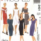 McCall's Sewing Pattern 2401 Misses Size 8-10-12 Easy Classic Sheath Straight Dresses