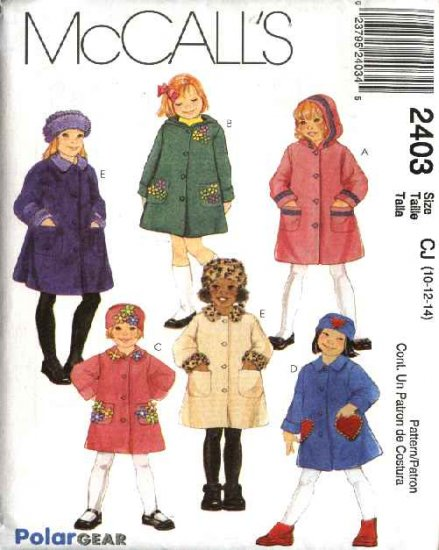 McCall's Sewing Pattern 2403 Girls Size 10-12-14 Unlined Button Front Hooded Coat Hat