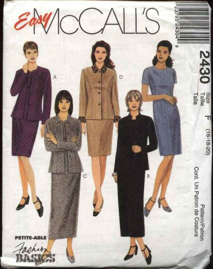 McCall's Sewing Pattern 2430 Misses Size 16-20 Easy Straight Dress Long Sleeve Button Front Jacket