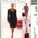 McCall's Sewing Pattern 2471 Misses Size 14-16-18 Button Front Dress Jacket Straight Skirt