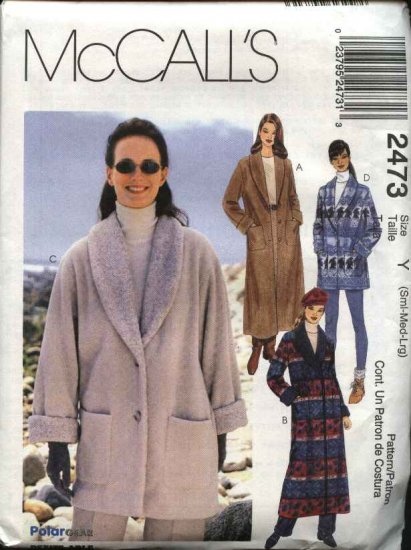 McCall's Sewing Pattern 2473 Misses Size 8-18 Unlined Button Front Fleece Coat Jacket
