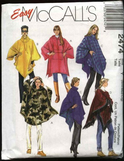 McCall's Sewing Pattern 2474 Misses Size 8-18 Hooded Drawstring Neckline Turtleneck Ponchos