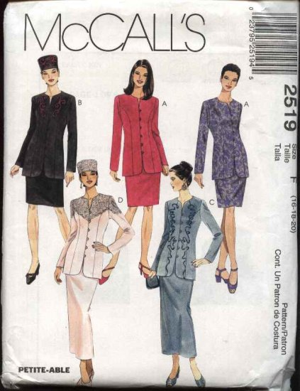 McCall's Sewing Pattern 2519 Misses Size 16-20 Button Front Jacket Long Short Straight Skirt Hat