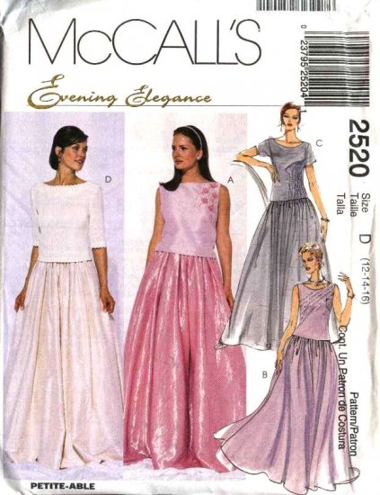 McCall's Sewing Pattern 2520 Misses Size 12-16 Evening Prom Formal Top Skirt Two-Piece Dress