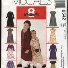 McCall's Sewing Pattern 2542 Girls Size 4-5-6 Easy Short Long Sleeve Raised Waist Dress Belt Bag