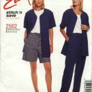 McCall's Sewing Pattern 2562 Misses Size 14-20 Easy Unlined Button Front Jacket Pull On Pants Shorts