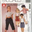 McCall's Sewing Pattern 2599 Girls Size 4-5-6 Two Hour Pullover Top Pull On Shorts Pants