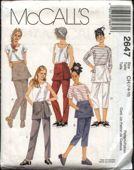 McCall's Sewing Pattern 2647 Girls Size 7-8-10 Long Cropped Pants with Attached Overskirt