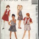 McCall's Sewing Pattern 7561 Girls Sizes 7-10 Easy Summer Vest Knit T-Shirt Skirt Shorts