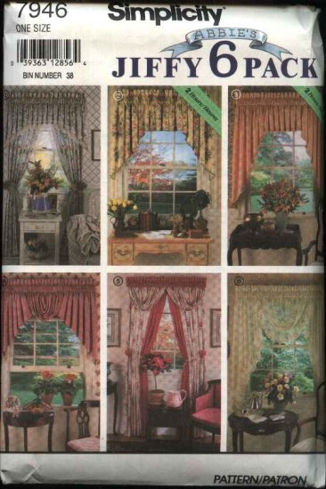 Simplicity Sewing Pattern 7946 Jiffy Curtains Valances Panels Swags
