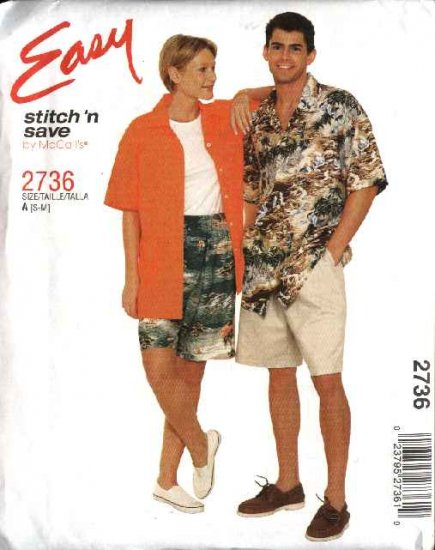 """McCall's Sewing Pattern 2736 Misses Mens Unisex Chest Size 34-40"""" Easy Button Front Shirt Shorts"""