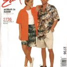"McCall's Sewing Pattern 2736 Misses Mens Unisex Chest Size 34-40"" Easy Button Front Shirt Shorts"