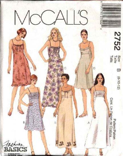 McCall's Sewing Pattern 2752 Misses Size 10-14 Basic Raised Waist Summer Short Long Dress