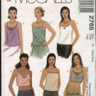McCall's Sewing Pattern 2765 Misses Size 4-10 Easy Summer Sleeveless Camisole Midriff Tops
