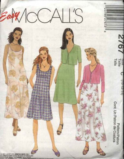 McCall's Sewing Pattern 2767 Misses Size 10-12-14 Easy Sleeveless A-Line Dress Jacket Shrug Bolero