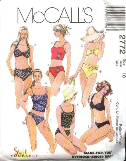 McCall's Sewing Pattern 2772 Misses Size 8 Two-Piece Swim Suits Bathing Suit Bikini Halter Top