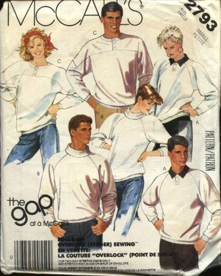 "McCall�s Sewing Pattern 2793 Misses Mens Unisex Chest Size 32 1/2 - 34""  Knit Tops Sweatshirts"