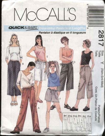McCall's Sewing Pattern 2817 Misses Size 4-14 Easy Cropped Pants Capris Bermuda Shorts