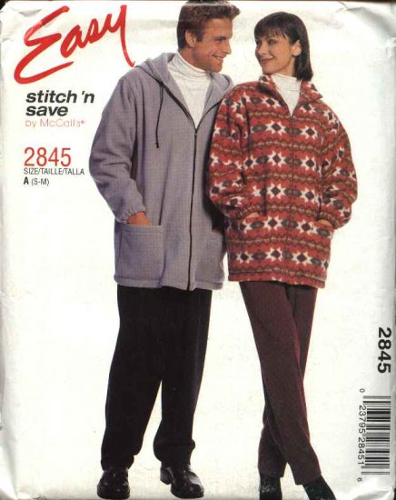 "McCall's Sewing Pattern 2845 Misses Mens Unisex Chest Size 34-40"" Easy Zipper Front Jacket Pants"