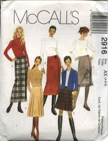 McCall's Sewing Pattern 2916 Misses Size 4-6-8 Straight Pleated Long Short Wrap Skirt