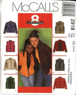 McCall's Sewing Pattern 2918 Girls Size 3-4-5 Easy Zipper Front Jacket Vest