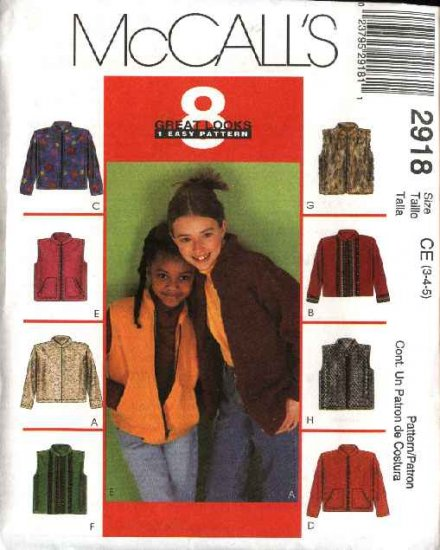 McCall's Sewing Pattern 2918 Girls Size 4-5-6 Easy Zipper Front Jacket Vest