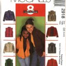 McCall's Sewing Pattern 2918 Girls Size 7-8-10 Easy Zipper Front Jacket Vest