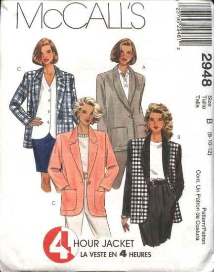 McCall's Sewing Pattern 2948 Misses Size 8-10-12 Lined Unlined Jackets